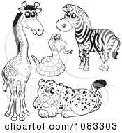 Clipart Outlined Giraffe Rattlesnake Zebra And Leopard Royalty Free Vector Illustration