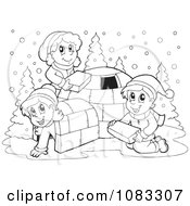 Clipart Outlined Winter Kids Making An Igloo Royalty Free Vector Illustration