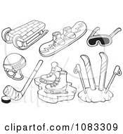 Clipart Outlined Sled Snowboard Goggles Ice Skates Skis And Ice Hockey Royalty Free Vector Illustration