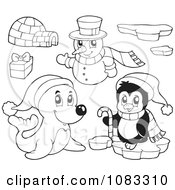 Clipart Outlined Seal Penguin Igloo And Christmas Snowman Royalty Free Vector Illustration by visekart