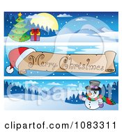 Clipart Merry Christmas Banners 1 Royalty Free Vector Illustration