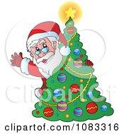 Clipart Santa Waving Behind A Christmas Tree Royalty Free Vector Illustration