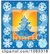 Clipart Blue Christmas Tree With A Snowflake Border Royalty Free Vector Illustration