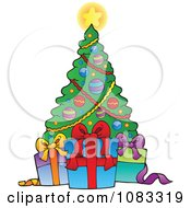 Clipart Gift Boxes And A Christmas Tree Royalty Free Vector Illustration