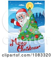 Clipart Santa Waving From Behind A Tree With Merry Christmas Text Royalty Free Vector Illustration