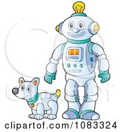 Clipart Futuristic Robot And Pet Dog Royalty Free Vector Illustration by visekart
