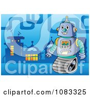 Clipart Robot In A Futuristic City 1 Royalty Free Vector Illustration by visekart
