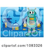 Clipart Robot In A Futuristic City 2 Royalty Free Vector Illustration by visekart