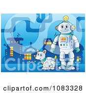 Clipart Robot And Dog In A City Royalty Free Vector Illustration by visekart