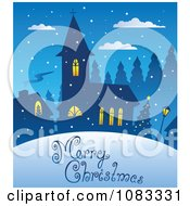 Clipart Merry Christmas Church Greeting Royalty Free Vector Illustration by visekart