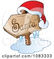 Clipart Hat On An Icy Santa Sign Royalty Free Vector Illustration