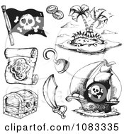 Clipart Black And White Pirate Items Royalty Free Vector Illustration by visekart