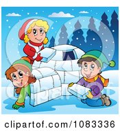 Clipart Winter Kids Making An Igloo Royalty Free Vector Illustration