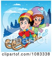 Clipart Winter Kids Sledding In The Snow Royalty Free Vector Illustration
