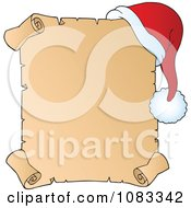 Clipart Christmas Parchment Page With A Santa Hat Royalty Free Vector Illustration