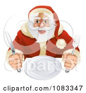 Clipart Hungry Santa Seated With A Blank Plate Royalty Free Vector Illustration