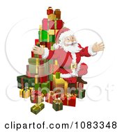 Clipart Santa Sitting With A Pile Of 3d Gifts Royalty Free Vector Illustration