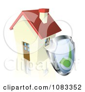 Clipart 3d Home Security Shield Against A House Royalty Free Vector Illustration