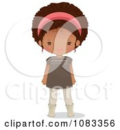 Clipart Stylish Black Girl With A Pink Headband Royalty Free Vector Illustration