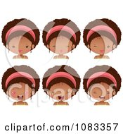 Clipart Expressional Black Girl Faces With Pink Headbands Royalty Free Vector Illustration