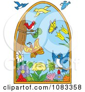 Clipart Scene Of Birds Flowers And Butterflies Royalty Free Vector Illustration