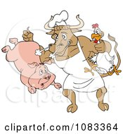 Clipart Chef Bull Holding A Pig And Chicken Royalty Free Vector Illustration by LaffToon