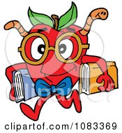 Clipart Smart Apple With A Worm And Books Royalty Free Vector Illustration by LaffToon