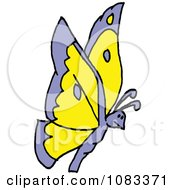 Clipart Purple And Orange Butterfly Royalty Free Vector Illustration