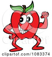 Clipart Healthy Red Apple Character Royalty Free Vector Illustration