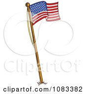 Clipart Waving American Flag On A Pole Royalty Free Vector Illustration