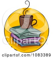 Clipart Coffee And Books Icon Royalty Free Vector Illustration