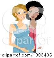 Clipart Black Doctor With A Pregnant Woman Royalty Free Vector Illustration