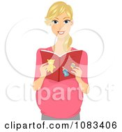 Clipart Pregnant Woman Reading A Baby Book Royalty Free Vector Illustration