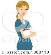 Clipart Nurse Holding A Baby Royalty Free Vector Illustration