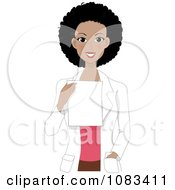 Clipart Black Female Doctor Holding A Prescription Royalty Free Vector Illustration