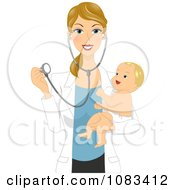Clipart Pediatric Doctor Holding A Happy Baby And Stethoscope Royalty Free Vector Illustration