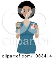 Clipart Nurse Holding Medicine Royalty Free Vector Illustration