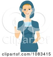 Clipart Female Surgeon Holding A Thumb Up Royalty Free Vector Illustration