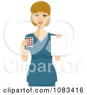 Clipart Female Pharmacist Holding A Prescription And Pills Royalty Free Vector Illustration