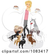 Clipart Female Vet Feeding Dogs Royalty Free Vector Illustration