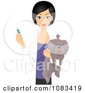 Clipart Female Vet Giving A Dog A Vaccine Royalty Free Vector Illustration