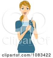 Clipart Female Surgeon Holding A Syringe Royalty Free Vector Illustration by BNP Design Studio