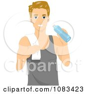 Clipart Athletic Man Holding A Water Bottle Royalty Free Vector Illustration