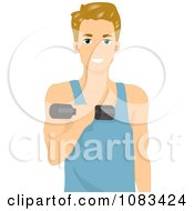 Clipart Athletic Man Using A Dumbbell Royalty Free Vector Illustration