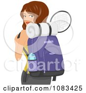 Clipart Active Woman With A Fitness Bag And Tennis Racket Royalty Free Vector Illustration