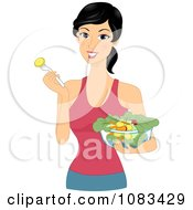 Clipart Healthy Woman Eating Salad Royalty Free Vector Illustration by BNP Design Studio