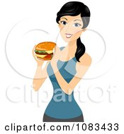 Clipart Thin Woman Holding A Cheeseburger Royalty Free Vector Illustration by BNP Design Studio