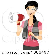 Clipart Female Coach Holding A Megaphone Royalty Free Vector Illustration