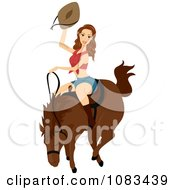 Clipart Woman Riding A Bucking Horse Royalty Free Vector Illustration by BNP Design Studio