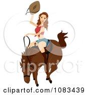 Poster, Art Print Of Woman Riding A Bucking Horse